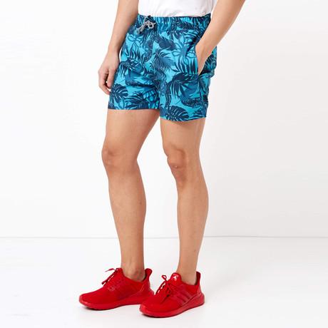 Palm Leaf Swim Shorts // Navy Blue