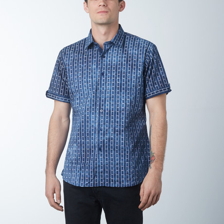 Ladder Short Sleeve Shirt // Navy (S)