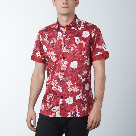 Wall Flower 2 Short Sleeve Shirt // Magenta (S)