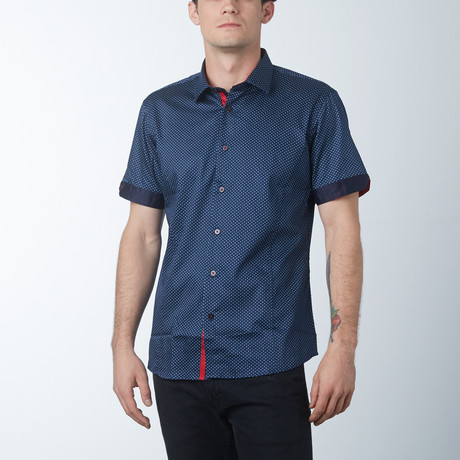Ornate Short Sleeve Shirt // Navy (S)