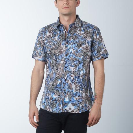 Ornate Short Sleeve Shirt // Royal (S)