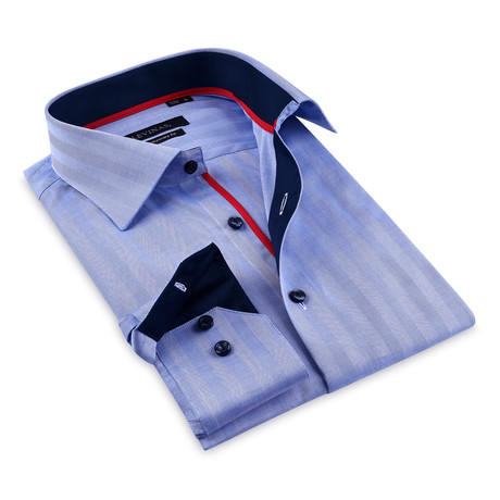 Contrast Collar Button-Up Shirt // Navy (S)