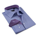 Herringbone Button-Up Shirt // Navy + Purple (L)