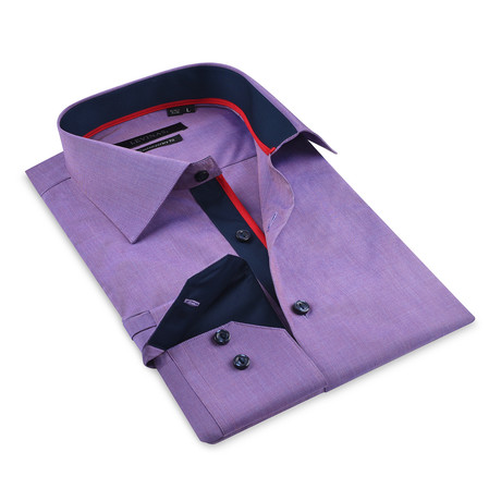 Button-Up Shirt // Purple + Navy (S)
