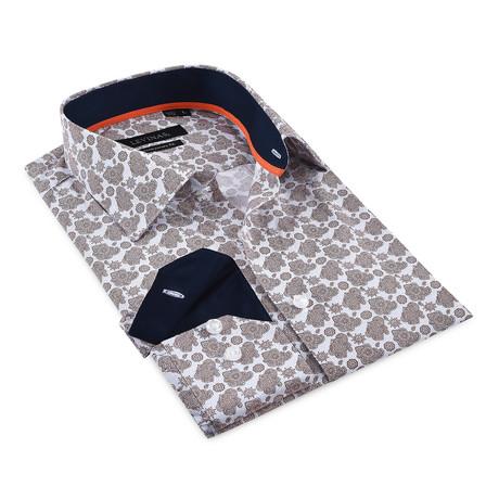 Button-Up Shirt // Beige + Navy (S)
