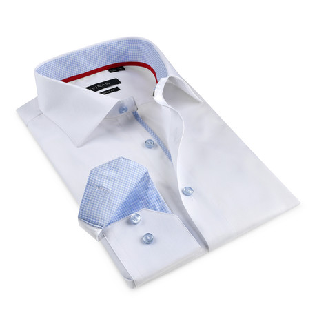 Contrast Button-Up Shirt // White + Light Blue (S)