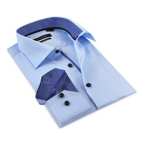 Button-Up Shirt // Light Blue + Navy (S)