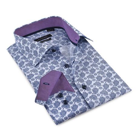 Contrast Collar + Pattern Button-Up Shirt // Navy + Burgundy (S)