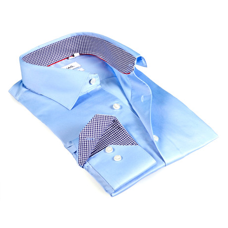 Houndstooth Collar Solid Button-Up // Light Blue (S)