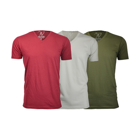 Ultra Soft Suede V-Neck // Burgundy + Military Green + Sand // Pack of 3 (S)