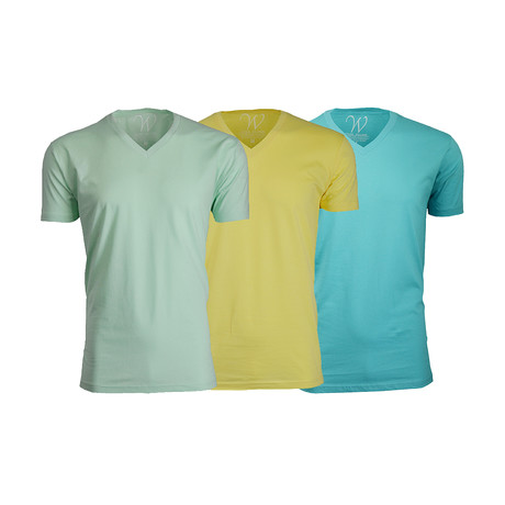 Ultra Soft Suede V-Neck // Turquoise + Yellow + Mint // Pack of 3 (S)
