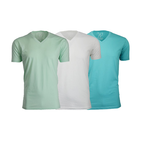 Ultra Soft Suede V-Neck // Turquoise + White + Mint // Pack of 3 (S)
