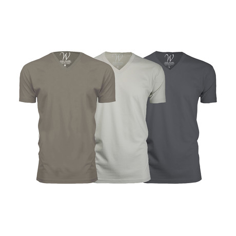 Ultra Soft Suede V-Neck // Heavy Metal + Stone + Sand // Pack of 3 (S)