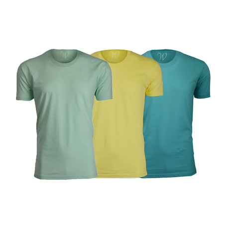 Ultra Soft Suede Crew-Neck // Turquoise + Yellow + Mint // Pack of 3 (S)