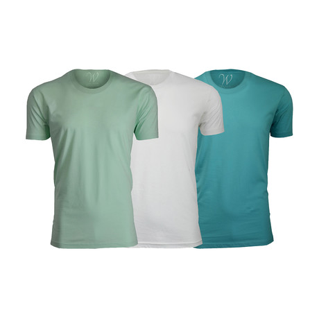 Ultra Soft Suede Crew-Neck // Turquoise + White + Mint // Pack of 3 (S)