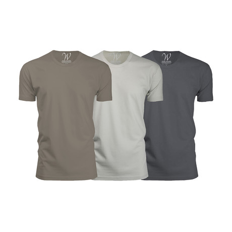 Ultra Soft Suede Crew-Neck // Heavy Metal + Stone + Sand // Pack of 3 (S)