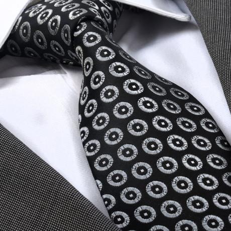 Giacomo Tie // Black + Silver Circles