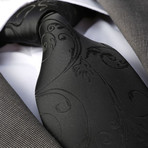 Angelo Silk Tie // Solid Black Paisley