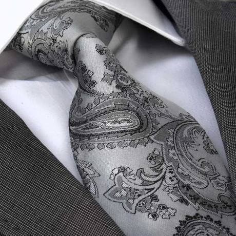 Paolo Silk Tie // Silver Grey Paisley