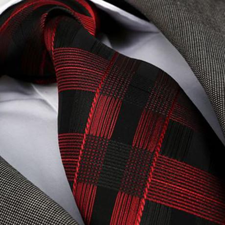 Emanuele Silk Tie // Red + Black Check