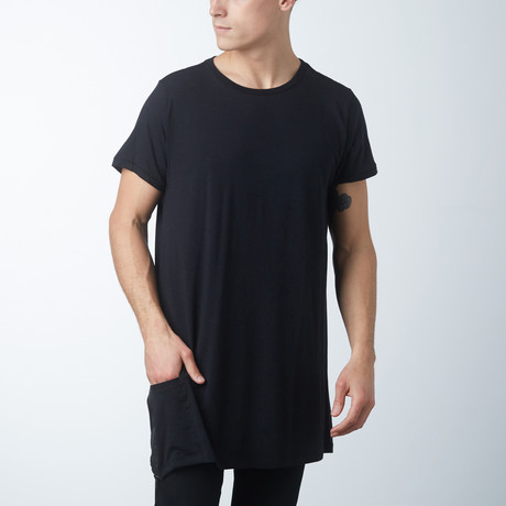Side Zipper Pocket Tee // Black