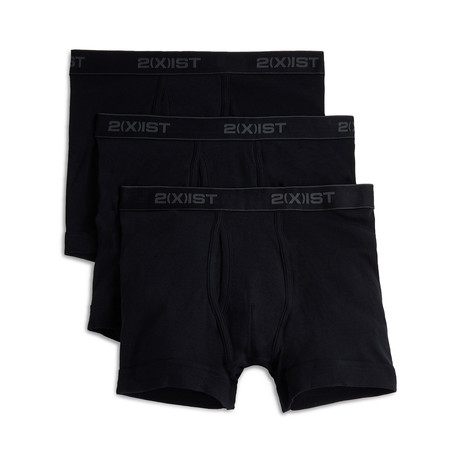 Essential Cotton Boxer Brief // Black // 3-Pack (S)