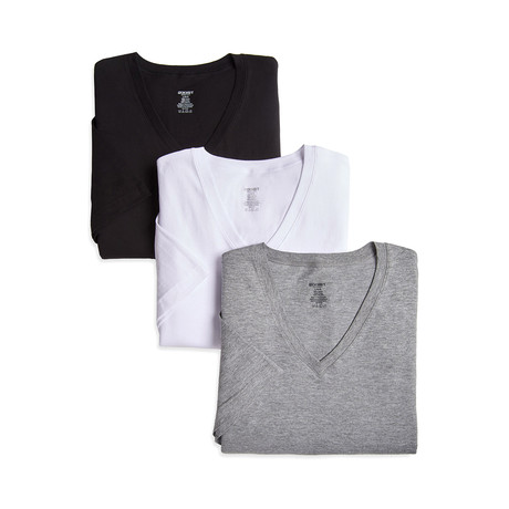 Essential Cotton V-Neck Tee// Black + White + Grey // 3-Pack (S)