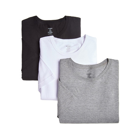 Essential Cotton Crew Neck Tee// Black + White+ Grey // 3-Pack (S)