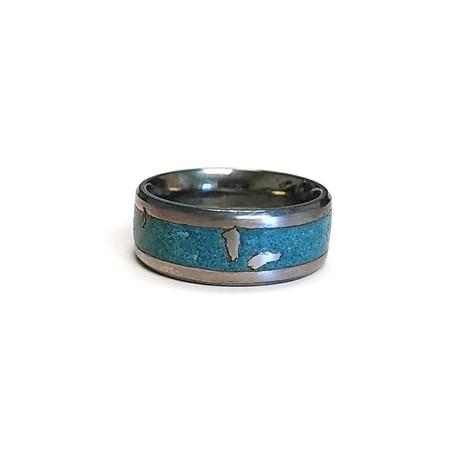 Meteor Luminescent Tungsten Ring // Green