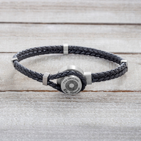 Double Stranded Black Braided Leather with Hook Bracelet