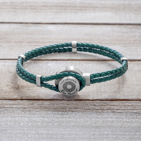Double Stranded Green Braided Leather With Hook Bracelet