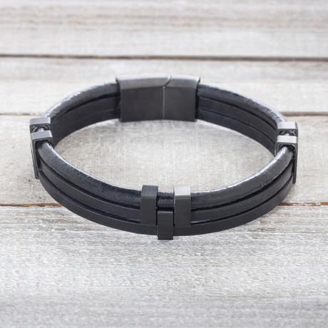 Black IP Triple Stranded Black Leather Bracelet