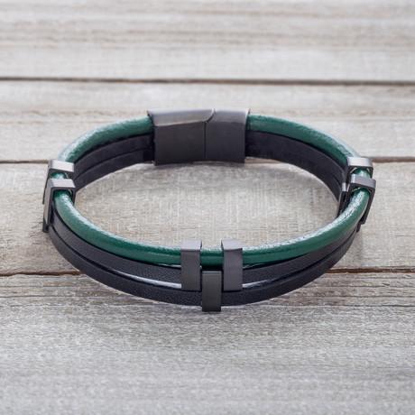 Black IP Triple Stranded Green + Black Leather Bracelet