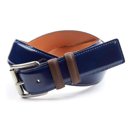 "Bryant Park // Genuine Mirrored Italian Leather Jean Belt // Navy + Brown (32"" Waist)"