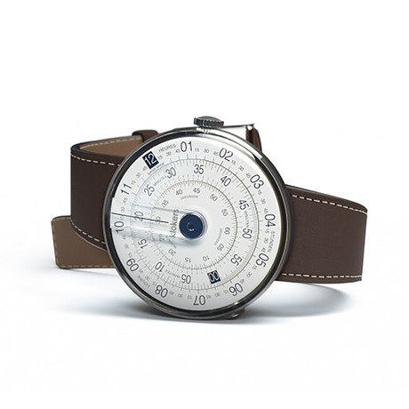 Klokers Quartz // KLOK-01-D4 Blue // Chocolate Brown Simple Strap
