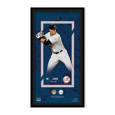 Aaron Judge NY Yankees Player Profile + Game Used Yankee Stadium Dirt + Uniform Swatch