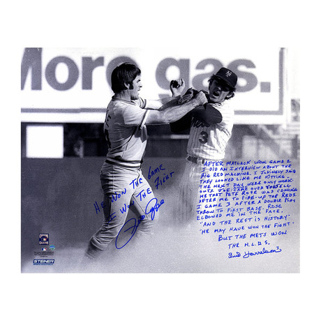 Pete Rose + Bud Harrelson Dual Signed Fighting Story Photo