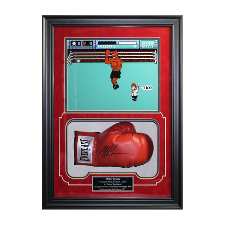 Signed Glove + Punch Out!! Print // Mike Tyson