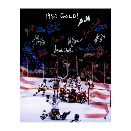 Signed 'Miracle On Ice' Photo // 1980 USA Men's Hockey Team