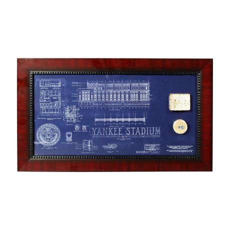 Framed Old Yankee Stadium Replica Blueprint + Dirt Capsule + Brick