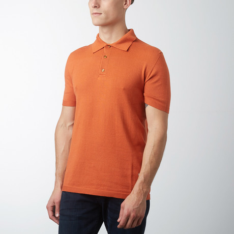 Knitted Polo Shirt // Orange (S)