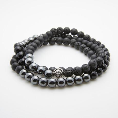 Jean Claude Jewelry // Lava + Hematite + Agate Stone Bracelet // Black + Silver