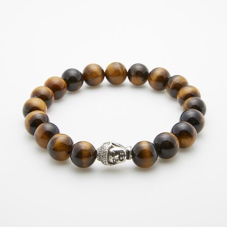 Jean Claude Jewelry // Silver Buddha + Tiger Eye Beaded Bracelet // Brown + Silver