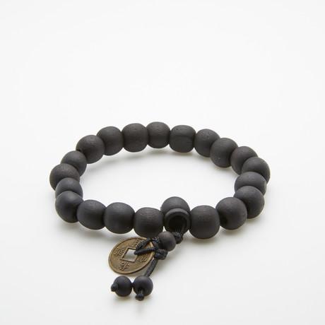 Jean Claude Jewelry // Buddhist Vintage Wood BeadedBracelet // Dark Brown