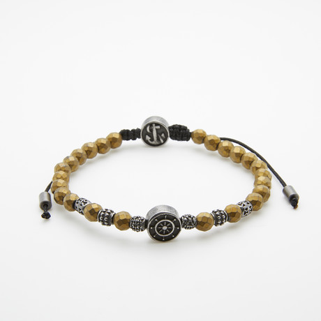 Jean Claude Jewelry // Gunmetal Anchor Beaded Bracelet // Bronze