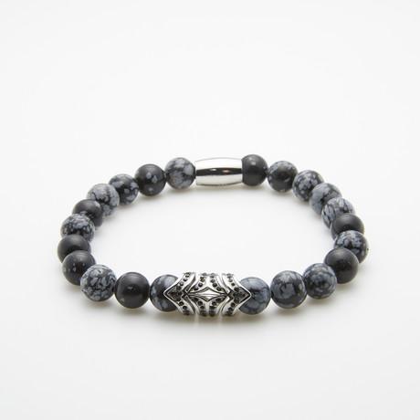 Snowflake Beaded Bracelet // Grey + Black
