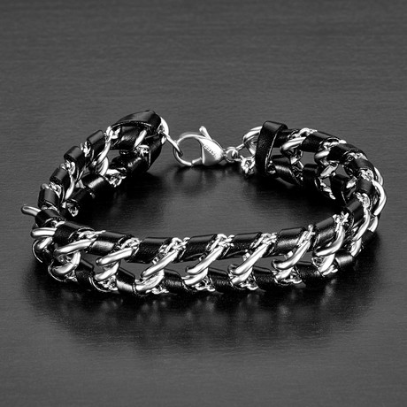 Curb Chain + Woven Leather Bracelet // Black