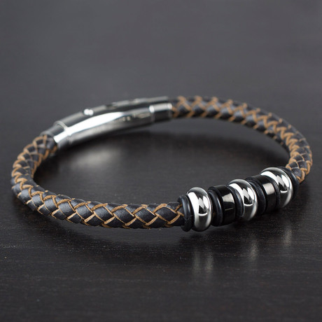 Beaded + Braided Leather Bracelet // Brown