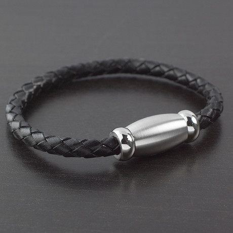 Braided Brushed Finish Leather Bracelet // Black