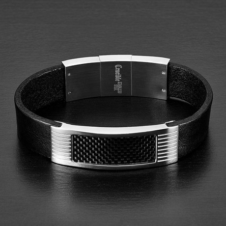 Leather Bracelet + Carbon Fiber ID // Black + Silver